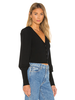 525 America Cropped Cardi with Puff Sleeve Black F20