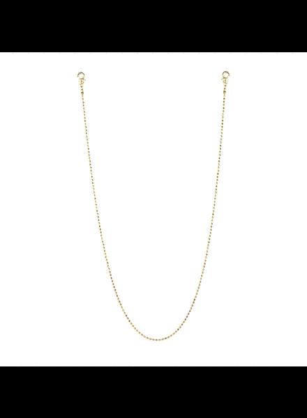 "Marlyn Schiff 26"" metal bead mask chain 1637N Gold"