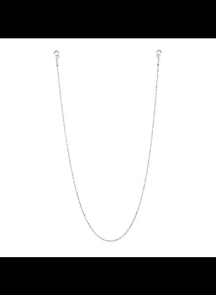 "Marlyn Schiff 26"" metal bead mask chain 1637N Silver"