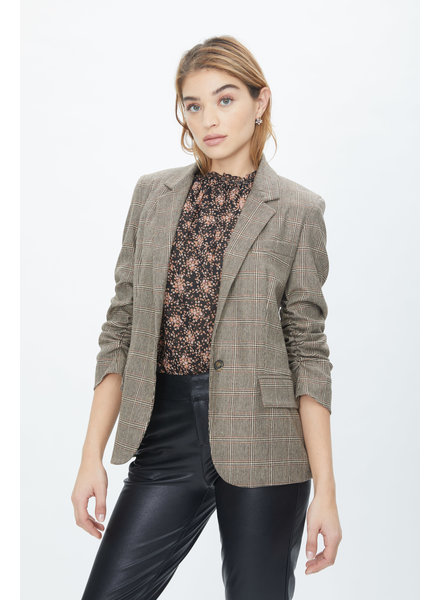 Generation Love Jameson Plaid Boyfriend Blazer Brown Multi F20