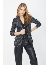 Generation Love Jameson Tweed Combo Blazer Black/White/Silver F20