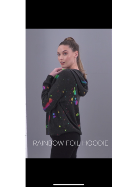 Brodie Rainbow Foil Hoodie Charcoal Rainbow Foil Print F20
