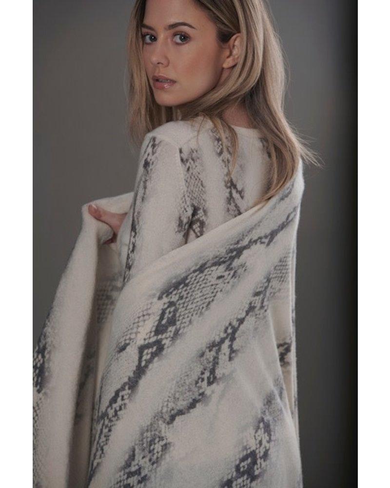 Brodie Snake Print Evie Scarf Organic White/Black F20