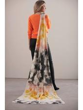 Brodie Tie Dye Evie Scarf Organic White/Yellow/Black/Orange F20