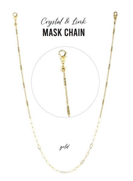 Marlyn Schiff Crystal and Link Mask Chain Gold