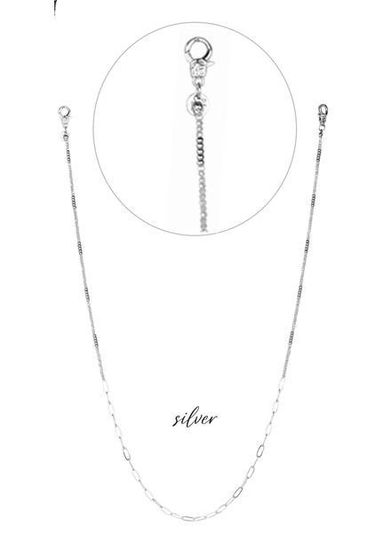 Marlyn Schiff Crystal and Link Mask Chain Silver