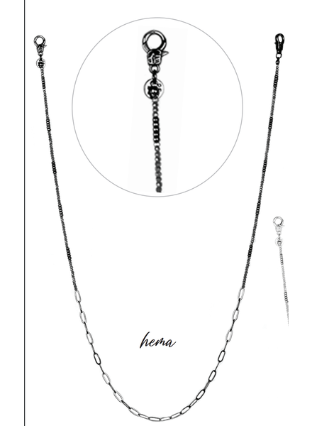 Marlyn Schiff Crystal and Link Mask Chain Hematite