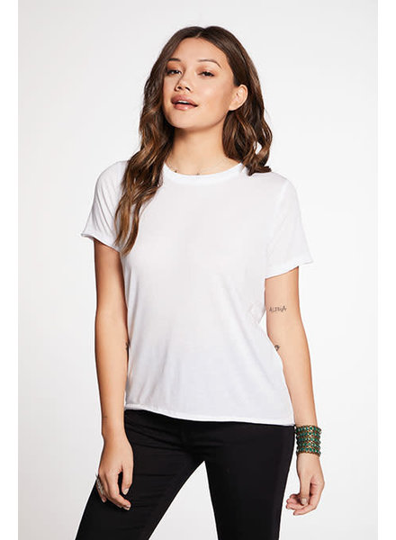 Chaser Recycled Vintage Jersey Raw Edge Short Sleeve Crew Neck Tee White F20