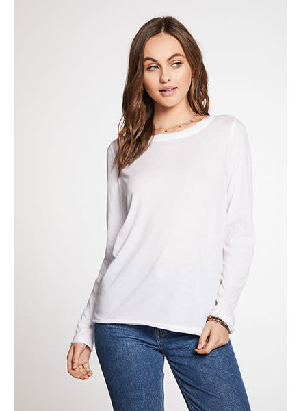 Chaser Recycled Vintage Jersey Raw Edge Long Sleeve Crew Neck Tee White F20