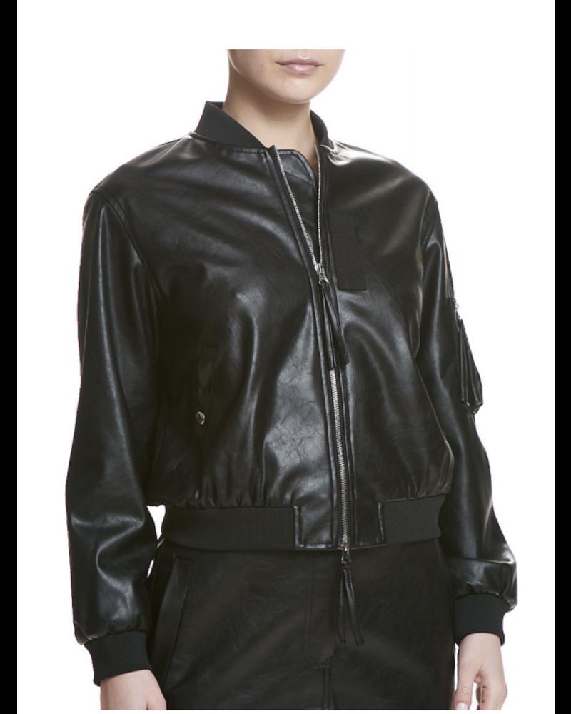 SEN Joel Faux Leather Bomber Jacket Black F20