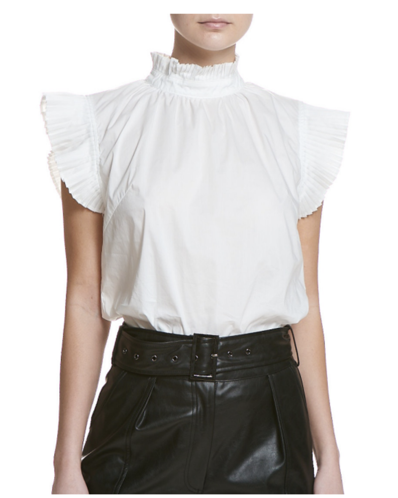 SEN Lucy Ruffled Neck Top White F20