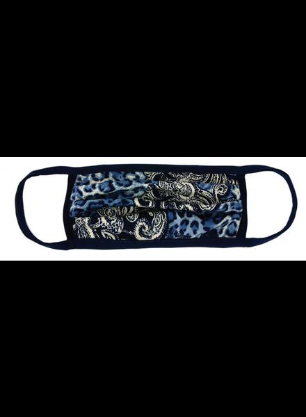 Marlyn Schiff Blue Animal Paisley Adult Mask