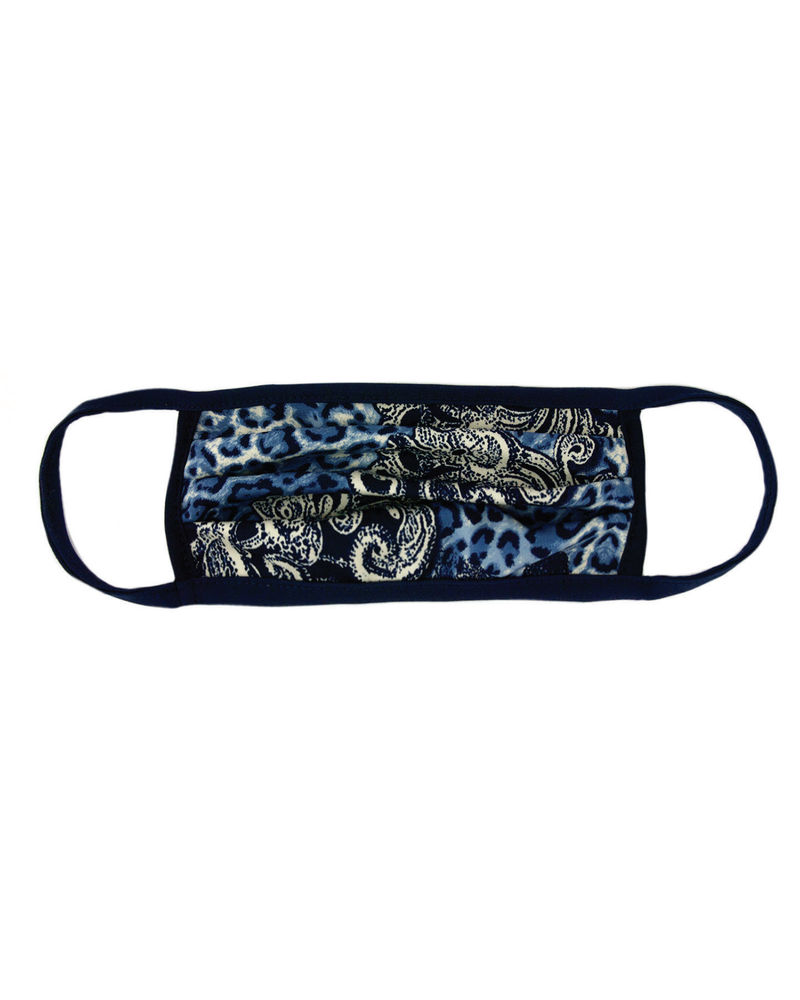Marlyn Schiff Blue Animal Paisley Adult Mask