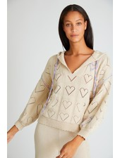 Love Shack Fancy Meara Hoodie Sunset Wheat F20