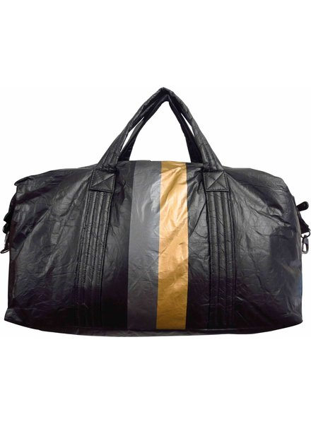 Sondra Roberts Duffle Bag Crinkled Nylon Printed Stripe Black 5790