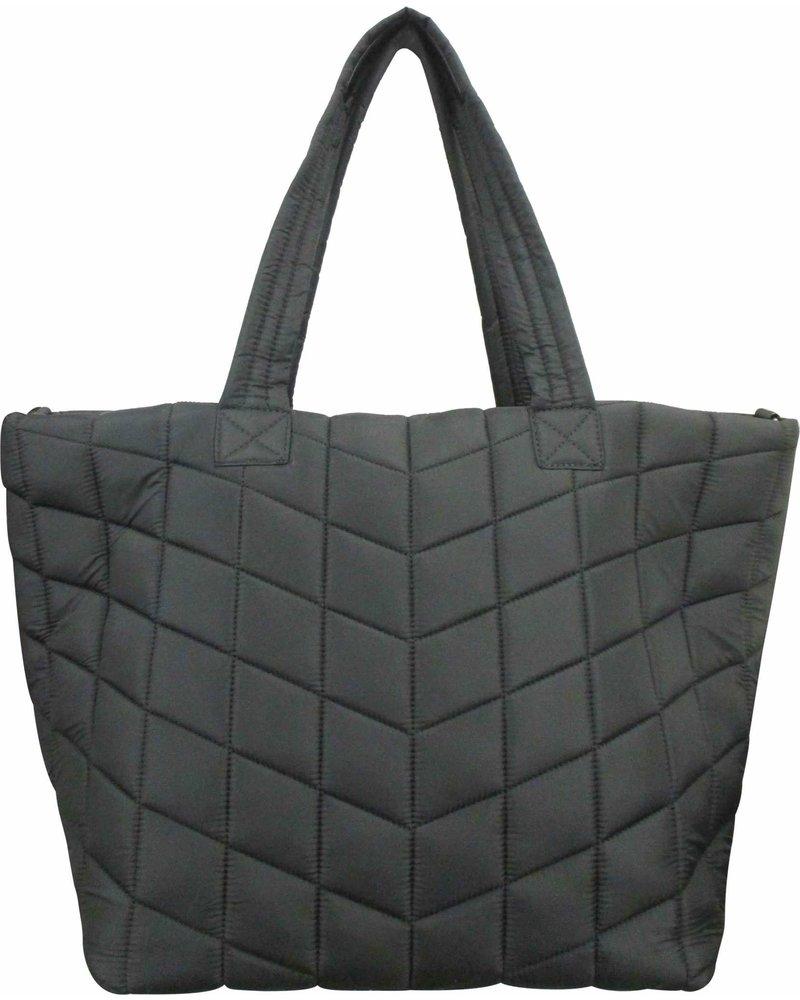 Sondra Roberts Large Tote Puffer Nylon New Quilt Detail Black 5617