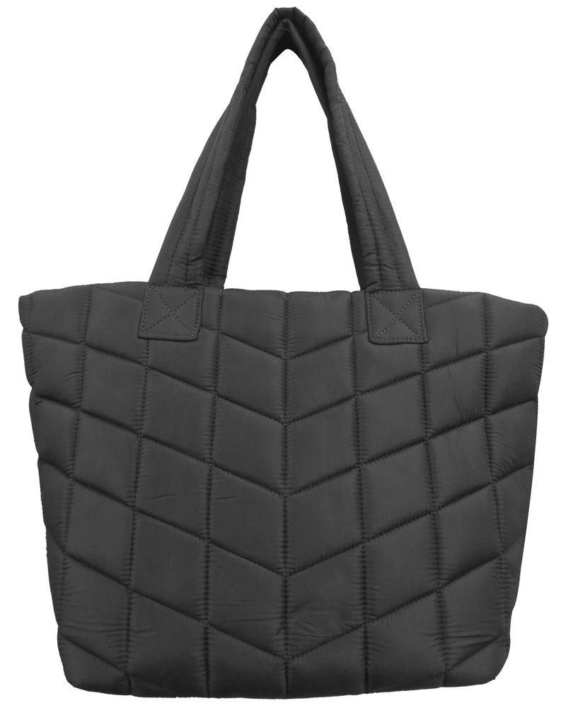 Sondra Roberts Small Tote Puffer Nylon New Quilt Black 5758