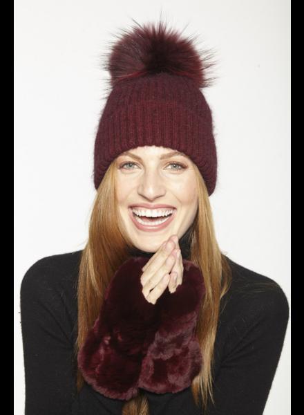 Linda Richards HA 62 Mohair/Wool pom hat Wine