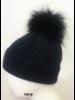 Linda Richards HA 62 Mohair/Wool pom hat Navy