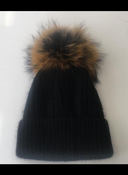 Linda Richards HA 62BLK Pom Pom Hat  Black/Natural