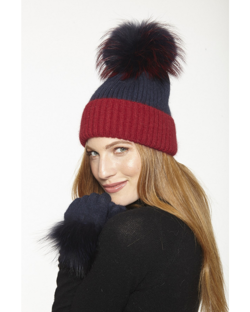 Linda Richards HA-68 Two-Tone Knit Hat Navy/Red