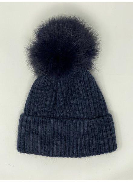 Glamourpuss NYC Knit Angora Blend Hat with Cuff and Pom Pom GP805 Navy