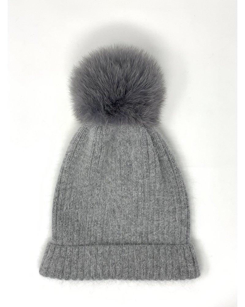 Glamourpuss NYC Knit Angora Blend Hat with Cuff and Pom Pom GP805 Grey