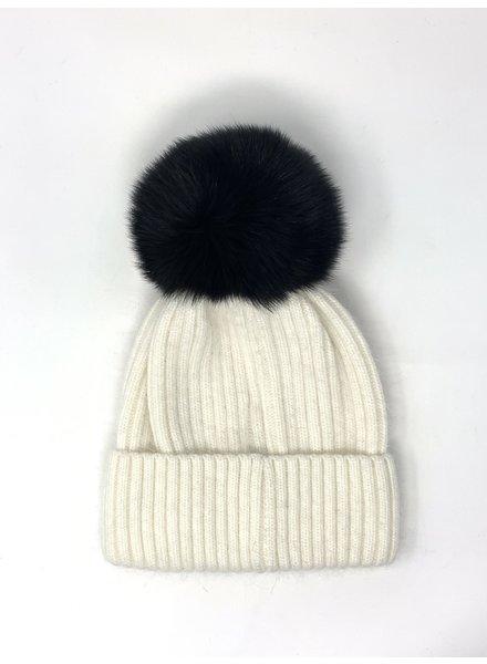 Glamourpuss NYC Knit Angora Blend Hat with Black Pom Pom GP805 Ivory