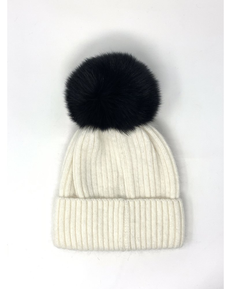 Glamourpuss NYC Knit Angora Blend Hat with Black Pom Pom GP805 Ivory