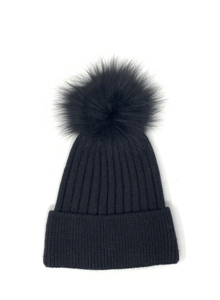 Glamourpuss NYC Solid Color Hat with Cuff and Matching Pom Pom GP806 Black