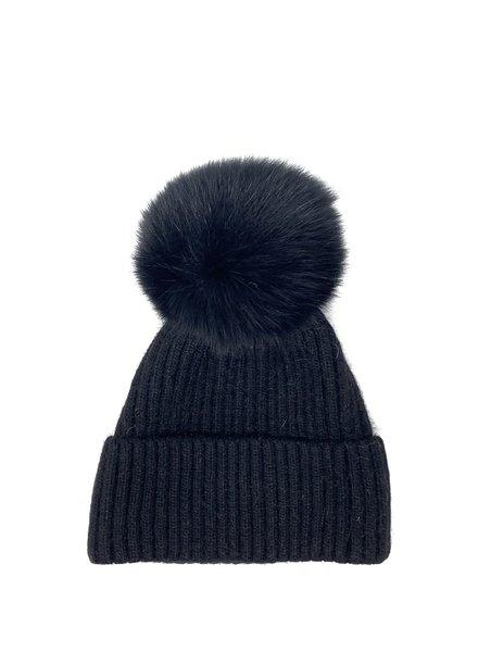 Glamourpuss NYC Knit Angora Blend Hat with Cuff and Pom Pom GP805 Black