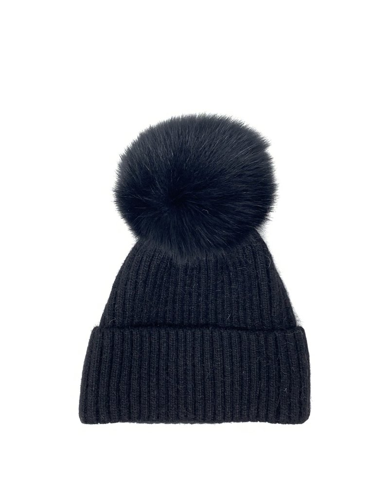 Glamourpuss NYC Knit Angora Blend Hat with Cuff and Pom Pom GP805 Black