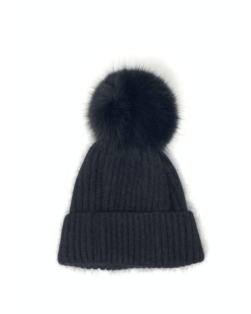 Glamourpuss NYC Knit Angora Blend Hat with Black Pom Pom GP805 Black