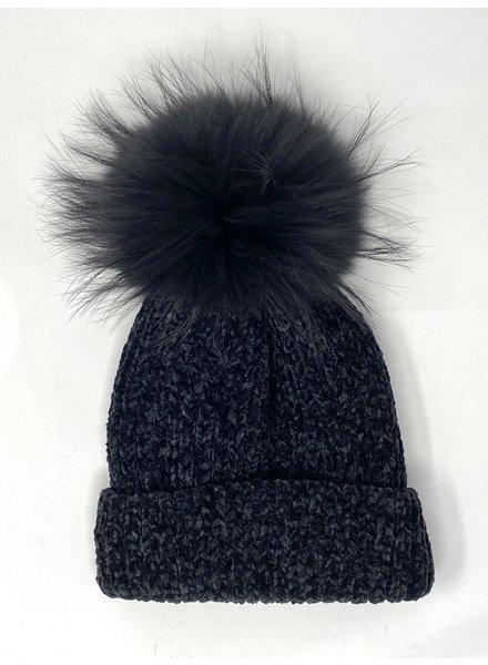 Linda Richards HA-80 Chenille Pom Hat Black