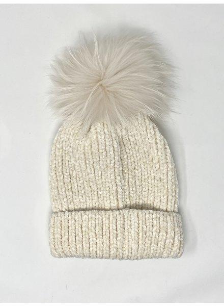 Linda Richards HA-80 Chenille Pom Hat Cream