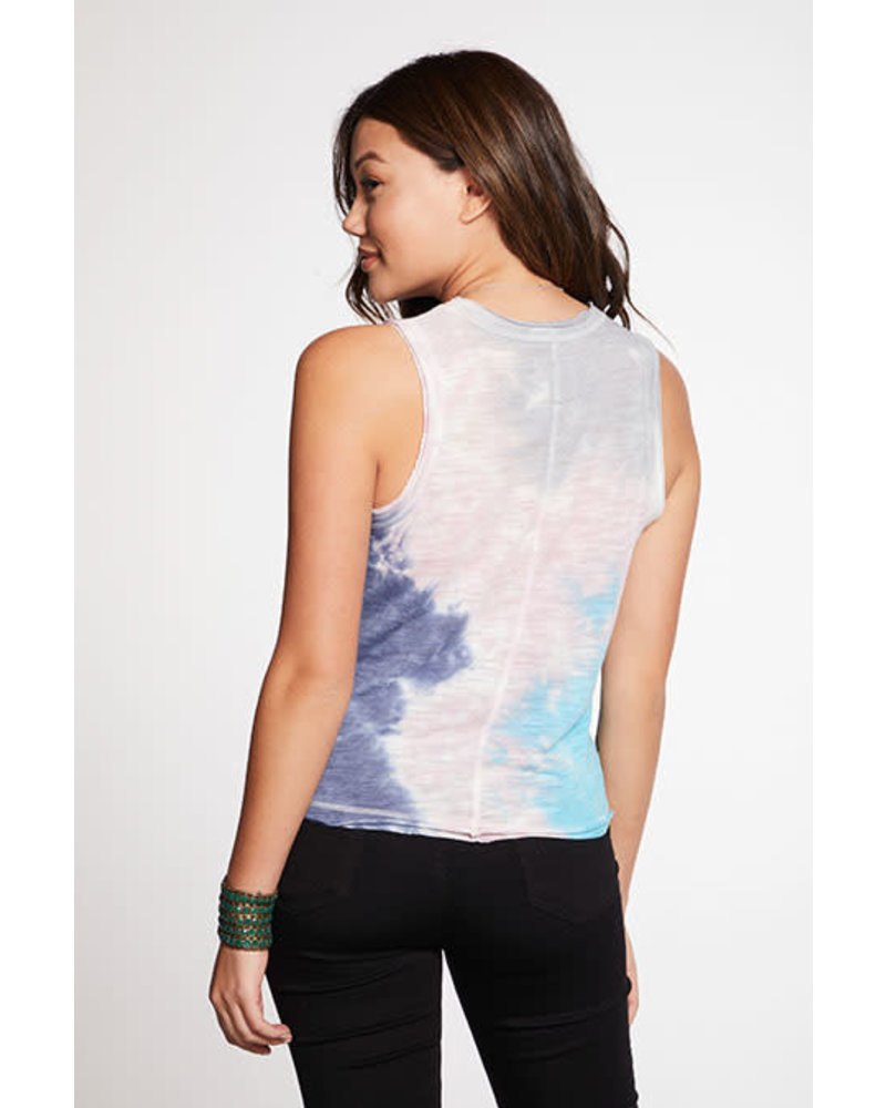 Chaser Slub Jersey Semi Cropped Muscle Tank with Raw Edge Tie Dye F20