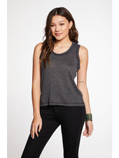 Chaser Slub Jersey Semi Cropped Muscle Tank with Raw Edge True Black F20