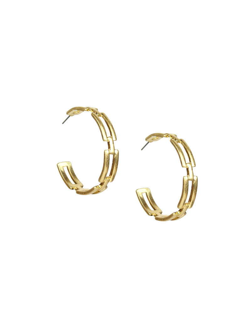 Marlyn Schiff 1577E Gold Wide Linked Hoop