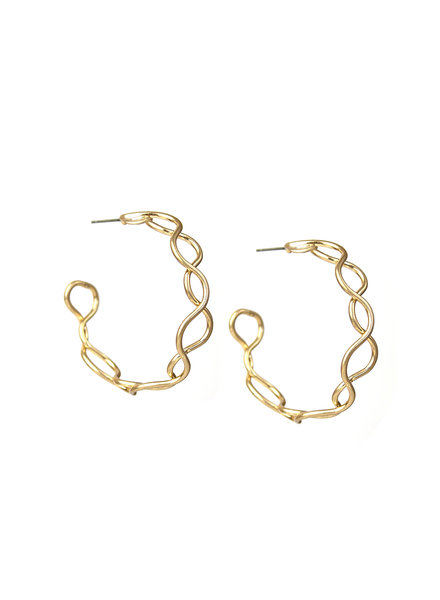 Marlyn Schiff 1609E Gold Double Wave Hoop