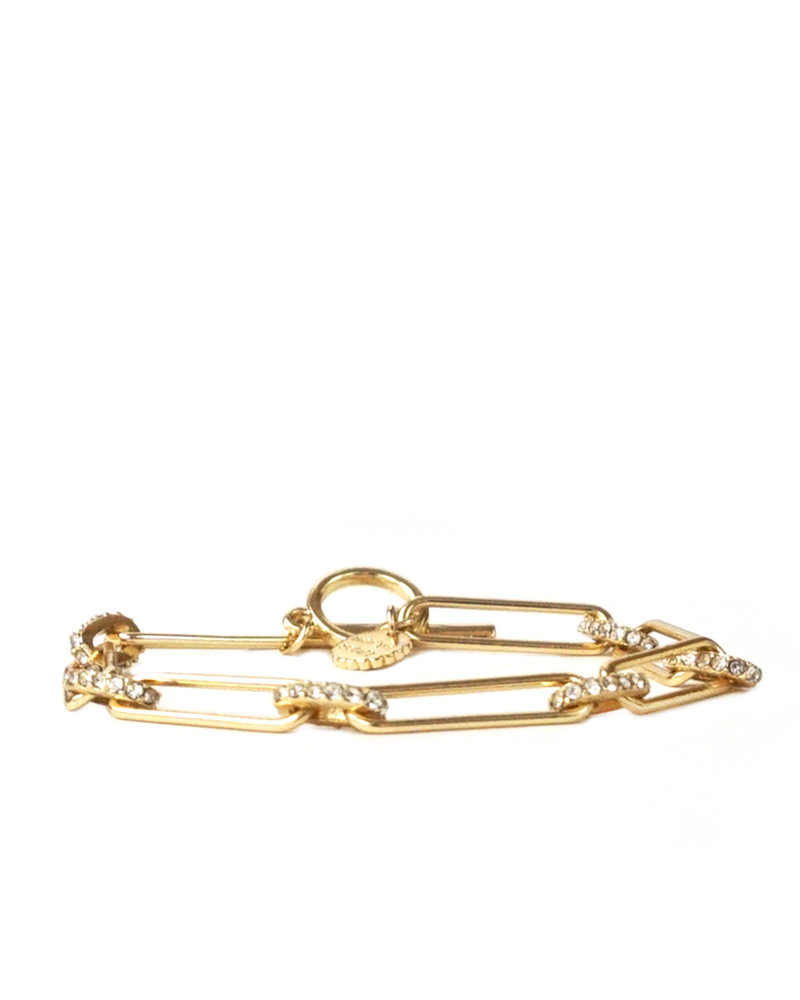 Marlyn Schiff 1354B Gold Chain Pave Link Toggle Bracelet