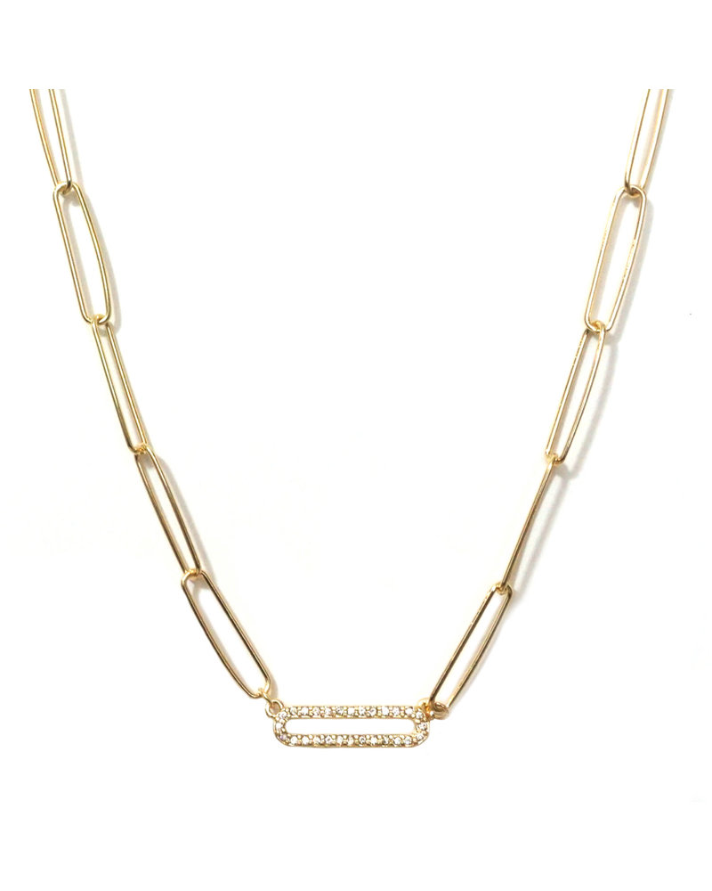Marlyn Schiff 1355N Gold Single Pave Link Necklace