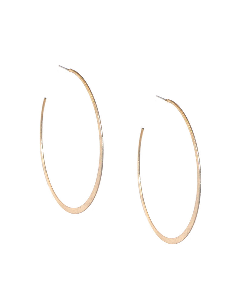 Marlyn Schiff 0850E Gold Large Flat Metal Hoop