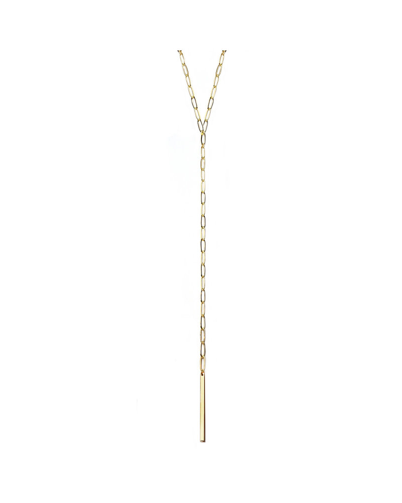 Marlyn Schiff 1405N Gold Metal Link & Bar Y Necklace