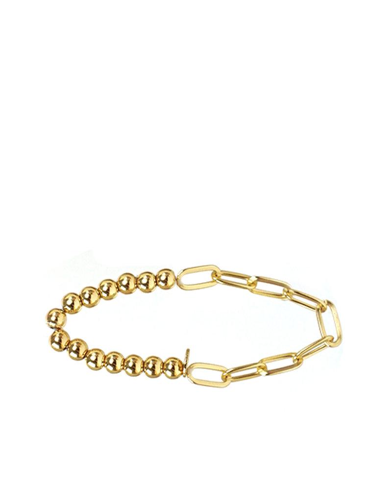 Marlyn Schiff 1297B  Gold Metal Link & Bead Bracelet