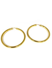 "Marlyn Schiff 0883E Gold 2 1/2"" hollow clasp hoop"