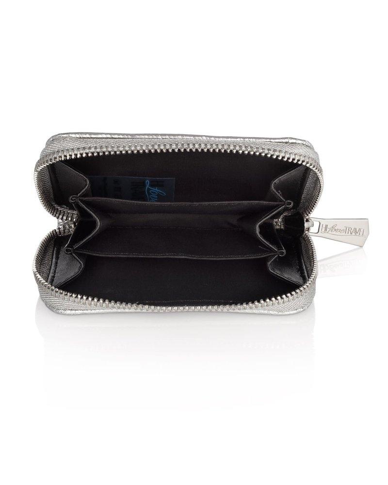 Hi Love Travel Puffer Wallet- Shimmer Navy