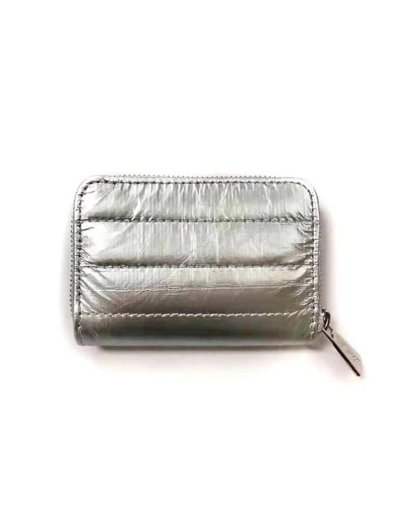 Hi Love Travel Puffer Wallet-  Metallic Silver