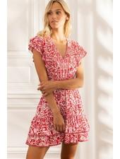 Poupette St Barth Mini Dress Camila Ruffled V Pr White Red Celery R21