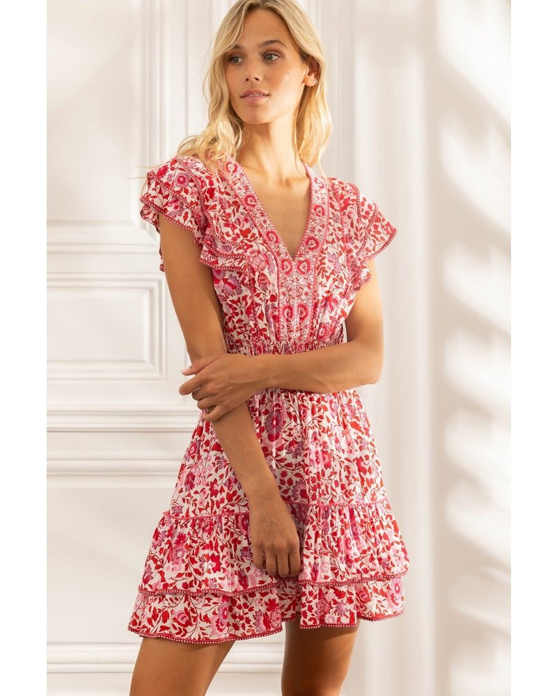 Poupette St Barth Mini Dress Camila Ruffled V Pr White Red Celery R21