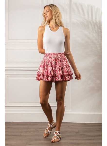 Poupette St Barth Mini Skirt Camila Ruffled V PR White Red Celery R21